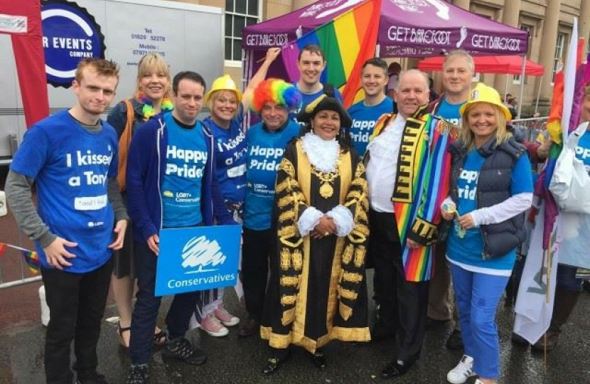 Conservatives at Chester Pride with Lord Mayor of Chester, Cllr Razia Daniels